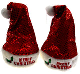 Set 2 Santa Hats Adult Merry Christmas Red Holly Sequins Plush Christmas Holiday - FUNsational Finds - 1