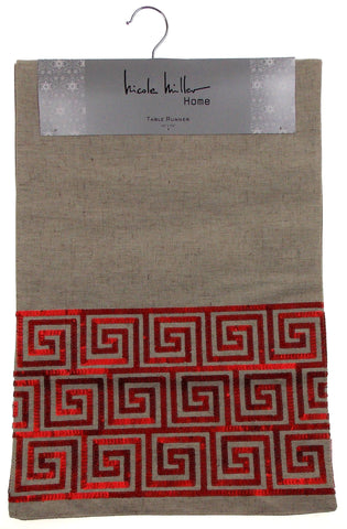 "Kitchen Table Runner Nicole Miller Tan Red Spiral 14"" x 72"" Party Catering Decor - FUNsational Finds - 1"