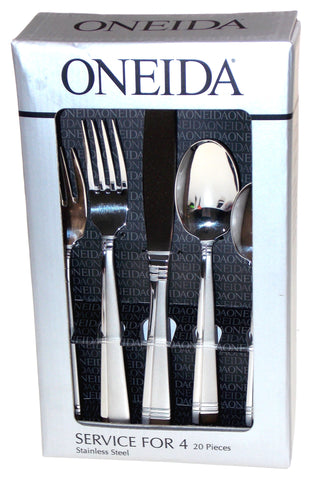 Oneida Amsterdam 20 Pc Set Service For 4 18/10 Stainless Steel Flatware NIB - FUNsational Finds - 1