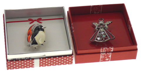 Action Alley Fashion Broach Pin Set 2 Penguin Angel Gift Box Holiday Xmas Gift