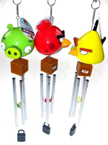 Lot of 3 Angry Birds Wind Chimes Red Yellow Green Crystal TNT Lock Garden Decor - FUNsational Finds - 1