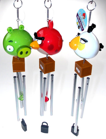 Lot 3 Angry Birds Wind Chime Red White Green Crystal TNT Lock Garden Patio Decor - FUNsational Finds - 1