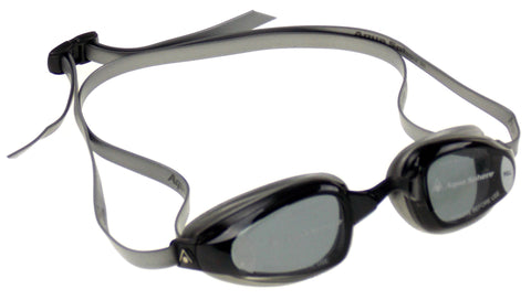Aqua Sphere K180+ Goggles Mens Black Silver Curved Smoke Lens UVA Italy 173200 - FUNsational Finds - 1
