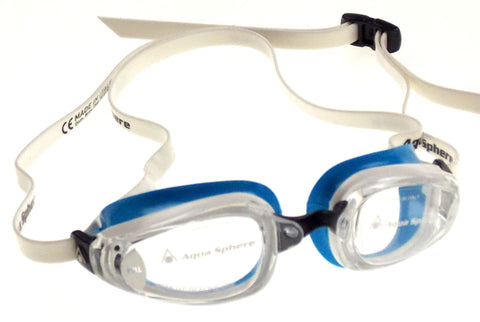 Aqua Sphere K180 Goggles Ladies Blue White Curved Lens 100% UVA UVB Italy 173270 - FUNsational Finds - 1
