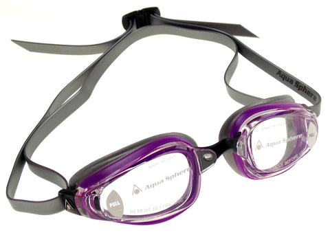 Aqua Sphere K180+ Goggles Ladies Purple Clear Curved Lens UVA UVB Italy 173130 - FUNsational Finds - 1