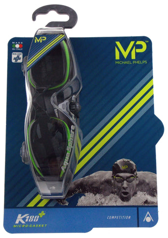 Michael Phelps K180+ Goggles Mens Green Smoke Curved Lens UVA UVB Italy 221945 - FUNsational Finds - 1