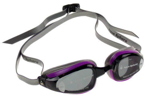 Aqua Sphere K180+ Goggles Ladies Purple Smoke Curved Lens UVA UVB Italy 173150 - FUNsational Finds - 1