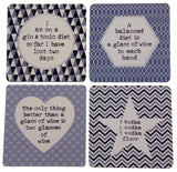 "Set 4 Gray Wood Square Bar Coasters 4"" Assorted Alcohol Sayings Vodka Wine Gin - FUNsational Finds - 1"