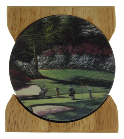 Counter Art Augusta Masters Golf Round Stone Coasters Set of 4 Wooden Holder USA