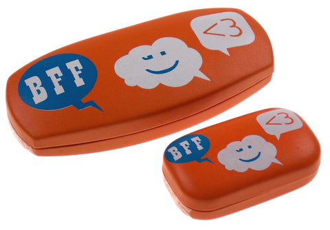 Lot of 2 BFF Smiley Sunglasses & Contact Lens Hard Case Orange Eyeglass Reading - FUNsational Finds - 1