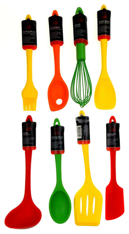 Set 8 Assorted Colored Kitchen Utensils Silicone Chef Craft Ladle Spatula  Whisk