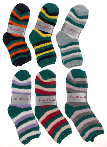 Cozy Socks 4-10 Lot of 6 Pairs Women Crew Kenneth Jones Fuzzy Warm Striped