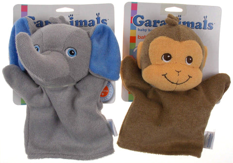 Set 2 Garanimals Baby Collection Bath Mitt Elephant Monkey Soft Plush Toy Puppet - FUNsational Finds - 1