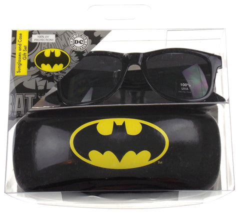 Batman Sunglasses & Case Gift Set DC Comics Licensed Black Retro Square 100% UVA - FUNsational Finds - 1