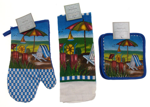 Beach Scene Set 8 Oven Mitt Gloves Pot Holders Towels Home Concepts Kitchen