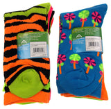 10 Pairs Crew Socks Krazisox Women Size 4-10 Bears Stripes Green Pink Black Blue - FUNsational Finds - 2