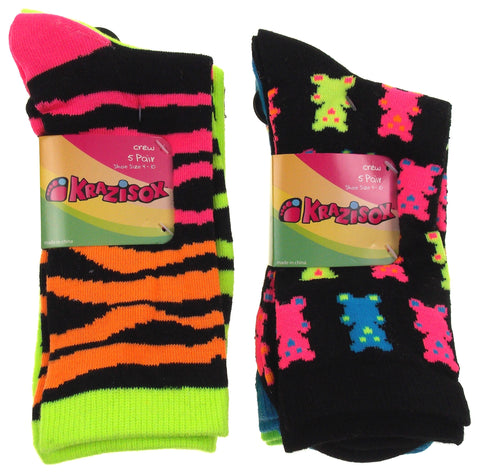 10 Pairs Crew Socks Krazisox Women Size 4-10 Bears Stripes Green Pink Black Blue - FUNsational Finds - 1