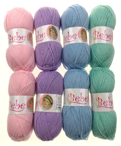 Oxford Bebe Baby Pink Lilac Blue Green Lot 8 Skeins Balls