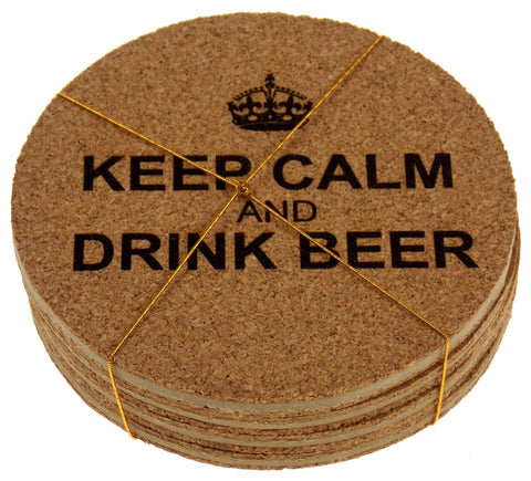 Beer Coasters Set of 4 Keep Calm Drink Beer Cork Wood Laser Engraved Man Cave - FUNsational Finds - 1