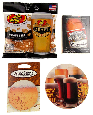 Beer Lovers Gift Set 4 Home Auto Stone Coaster Playing Cards Jelly Belly Draft - FUNsational Finds - 1