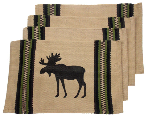 "Moose Silhouette Placemats Set 4 Beige 12"" x 18"" Rustic Lodge Virah Bella"