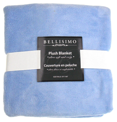 Bellisimo Luxurious Plush Blanket Blue 50x60 Soft Cozy Thick Warm Polyester NEW