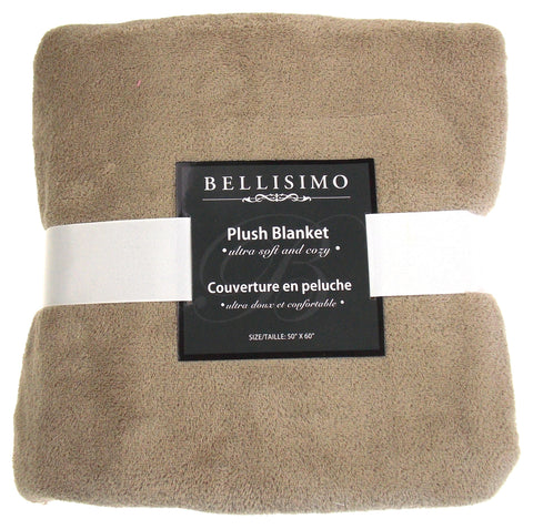 Bellisimo Luxurious Plush Blanket Brown 50x60 Soft Cozy Thick Warm Polyester