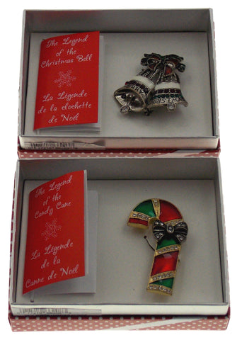 Legend of the Christmas Bell Candy Cane Fashion Broach Pin Action Alley Set of 2