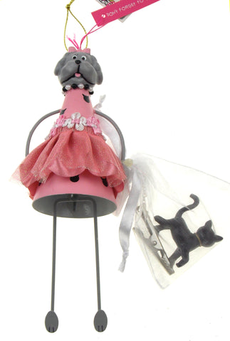 Betsey Johnson Christmas Ornament Set Dog Pink Dress Black Cat Clip on Tree