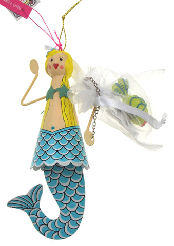 Betsey Johnson Christmas Ornament Set Mermaid Blue Tail Green Fish