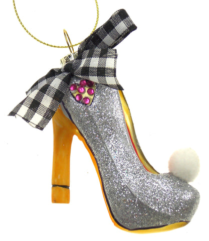 Betsey Johnson Ornament Silver Sparkly High Heel Shoe with Bow & Pom Pom