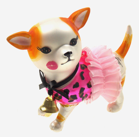 Betsey Johnson Ornament White Dog with Tutu and Bell