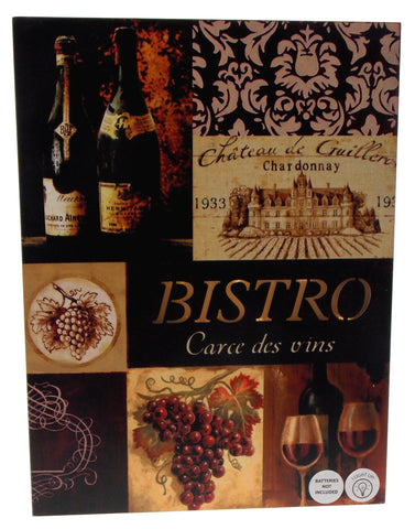 Bistro Carce des vins Wine List Sign Light Up Grapes Bottles Glasses 16x12 Large - FUNsational Finds - 1