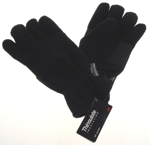 Athletech Mens Black Winter Driving Fleece Gloves 3M Thinsulate Lined Snow Warm - FUNsational Finds - 1