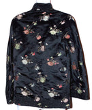 Ella Chen Black Oriental Asian Bed Jacket Frog Closure Lined Slits Floral - FUNsational Finds - 2