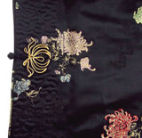 Ella Chen Black Oriental Asian Bed Jacket Frog Closure Lined Slits Floral - FUNsational Finds - 4