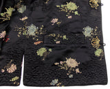 Ella Chen Black Oriental Asian Bed Jacket Frog Closure Lined Slits Floral - FUNsational Finds - 3