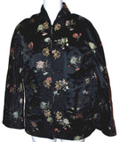 Ella Chen Black Oriental Asian Bed Jacket Frog Closure Lined Slits Floral - FUNsational Finds - 1