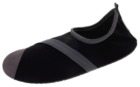 FitKicks Black Gray Womens Active Lifestyle Footwear Shoe Slip On Yoga Fold & Go - FUNsational Finds - 1