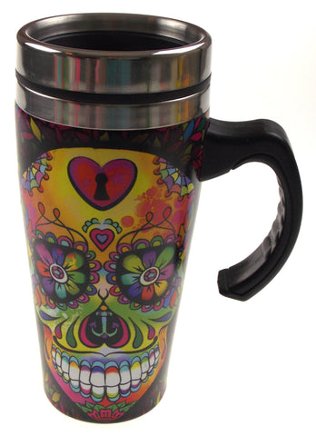 Coffee Travel Coffee Mug Black Skull Gift Splash Guard 16oz Handle Insulated