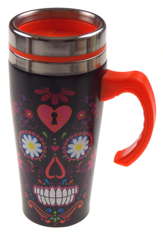 Coffee Travel Coffee Mug Black Red Skull Gift Splash Guard 16 oz Handle Lid