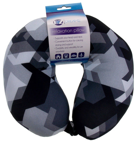 Neck Support Air Car Travel Pillow Black White Geometric Microbeads Relaxation - FUNsational Finds - 1