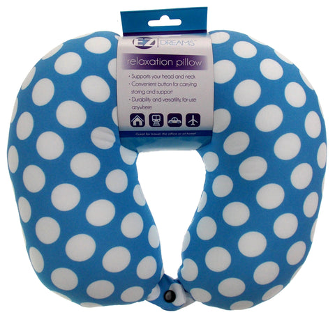 Neck Support Air Car Travel Pillow Blue Polka Dots Microbeads Relaxation Squishy - FUNsational Finds - 1