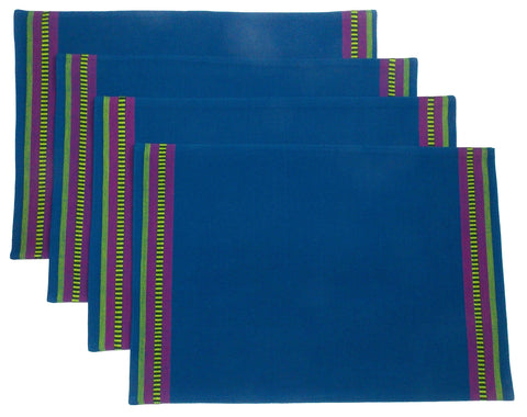 Really Carson Blue Placemats Set 4 19x13 Kitchen Dining Table Fabric  Cotton