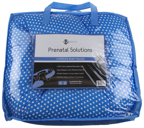 Complete Whole Body Pregnancy Pillow EZ Dreams Prenatal Solutions Blue Polka Dot - FUNsational Finds - 1