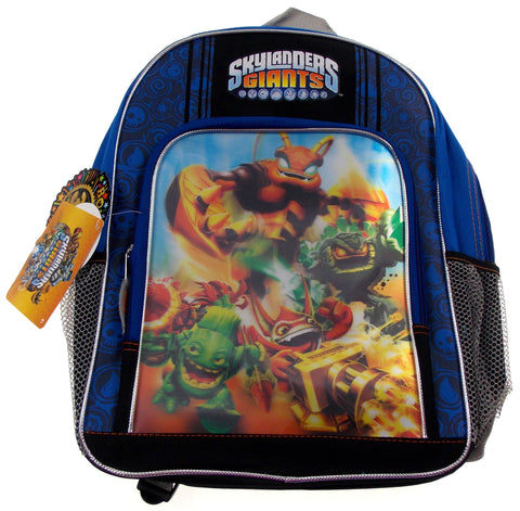 Skylanders Giants Large Backpack 3D Graphics Blue Black Padded Shoulder Straps - FUNsational Finds - 1