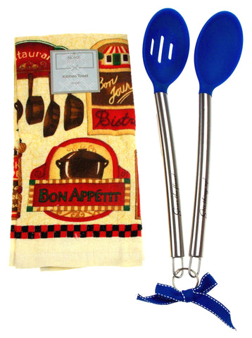 Kitchen Towel Bon Appetit 15x25 Blue Silicone Stainless Spoons Xmas Gift Set 3 - FUNsational Finds - 1