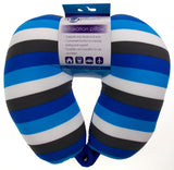 Neck Support Air Travel Pillow Blue Black Stripes Microbeads Relaxation Squishy - FUNsational Finds - 1