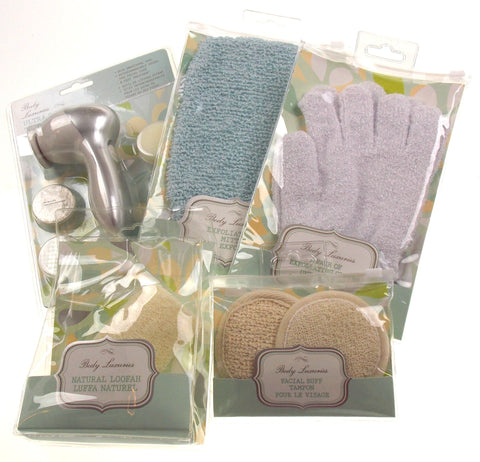 Body Luxuries Set 5 Exfoliating Mitt Gloves Loofah Facial Buff Ultra Spa Kit Lot
