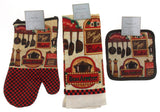 Bon Appetit Bon Jour Oven Mitt Gloves Pot Holders Towels Set 8 Kitchen